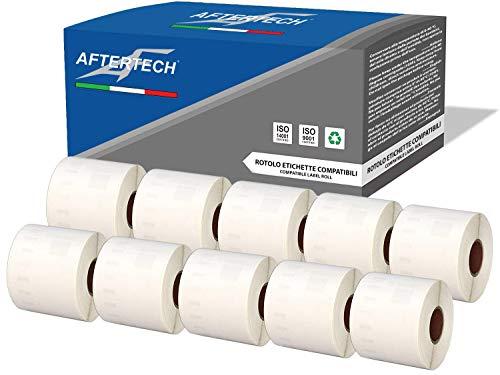Aftertech 10x 99014 54x101mm Rotoli di Etichette adesive compatibili (220 Etichette/rotolo = 2200 totali) per Dymo LabelWriter Seiko SLP etichettatrici stampanti S0722434 10x99014