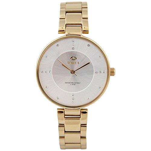 Marea Classy dameshorloge met gouden roestvrij stalen armband en strass-steentjes B54095/1