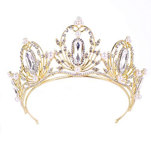 FAPROL Damen Diademe, Braut Golden Krone, Königin Barock Haarschmuck, Edelsteine Haarbänder Für Drama