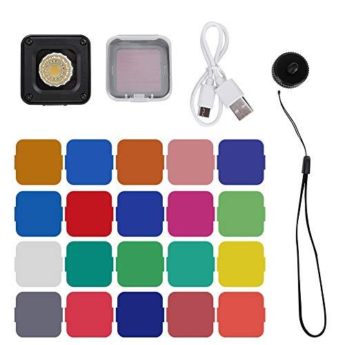 Kamera-Füllleuchte - KSTEE Wasserdichte Kamera-Füllleuchte LCD-Bildschirm, Farbtemperatur und Helligkeit Wasserdichte Mini-Leuchte IP67 10M Eingebaute Lithium-Batterie 5500 ± 200K