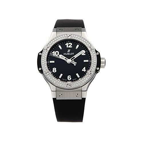 Hublot Big Bang Reloj de pulsera de goma negra con esfera negra y diamantes 361.SX.1270.RX.1104