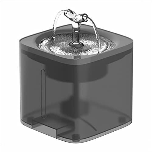 S/L Fuente para Gatos, Bebedero Gatos, Bebedero Automático Fuente de Agua Silencia para Mascotas Gatos Perros 2 Modos Ajustable 2L (Negro)