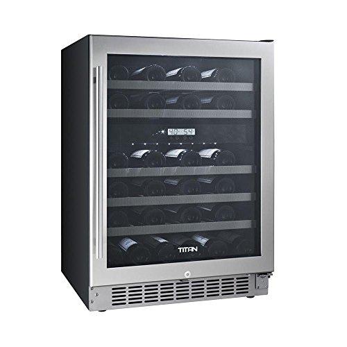 Titan 24 inch 46 Bottle, Seamless Stainless Steel Door, Built in Dual Zone Wine Cooler, Roller Glide Wooden Shelves, Temp Memory, Door-Left-Open&High Temp Alarm