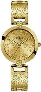 ساعة انالوج بعقارب ستانلس ستيل دائرية بسوار شكل حلقات متصلة ونقشة شعار العلامة التجارية للنساء من جيس W1228L2 - اصفر ذهبي
