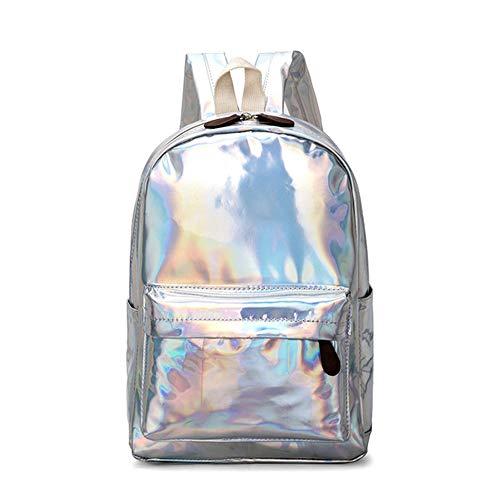 ZHAOXUAN Mochila holográfica Femenina Mochilas de Viaje de Cuero PU de láser Suave Mochilas Escolares de Plata con Holograma para niñas Adolescentes