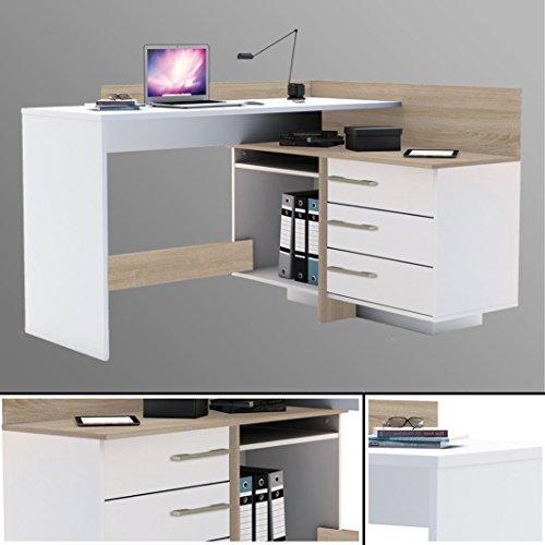 habeig Eck-Schreibtisch #881 Sonoma Eiche weiß Computertisch Eckschreibtisch PC-Tisch