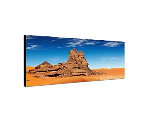 Wandbild auf Leinwand als Panorama in 120x40cm Algerien Sahara Wüste Sanddüne Felsen
