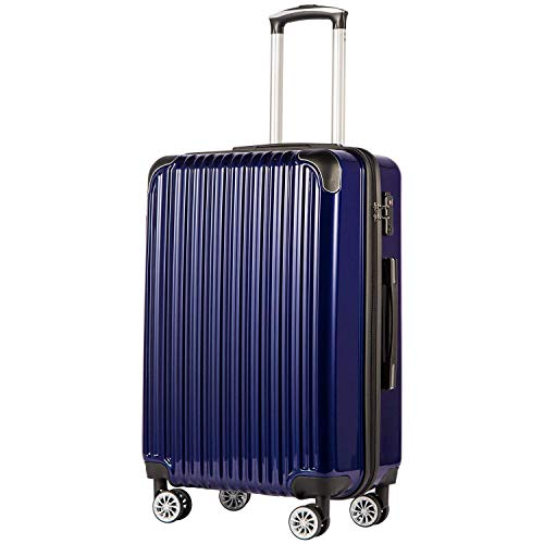 COOLIFE Expandable Suitcase(Only 28in Expandable) Luggage PC+ABS Material with TSA Lock and 4 Spinner Wheels(Blue,L(78cm 99L)).