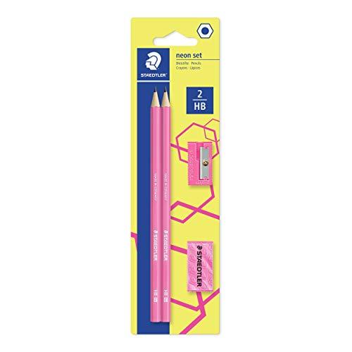 STAEDTLER Bleistift Noris eco, hohe Bruchfestigkeit, rutschfeste Soft-Oberfläche, innovatives Wopex-Material, Härtegrad HB, Set auf Blisterkarte, Farbe: neon-pink, 180FSBK2P1
