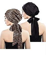 Blulu 2 Pieces Soft Satin Head Scarf Sleeping Cap Bonnet Headwear Head Cover Turbans for Women (Set 6)