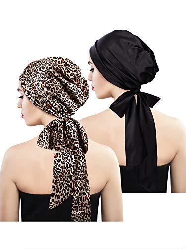 2 Stücke Weich Satin Kopftuch Schlafen Mütze Bonnet Kopfbedeckung Kopf Abdeckung Turbane für Damen (Set 6)