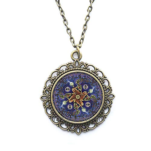 Blume des Lebens Heilige Geometrie Mandala Yoga Halskette - Handgemachte Spirituell Anhänger Saat des Lebens Anhänger MT360
