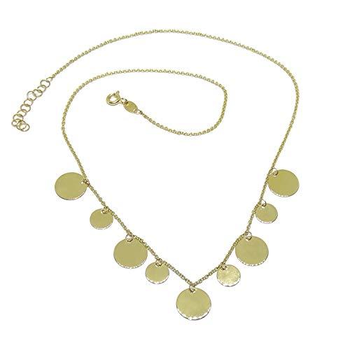 Never Say Never Collar chapitas de Oro 18k para Mujer de 45cm de Largo 4.60gr de Oro de 18k
