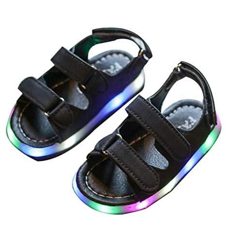 gfjfghfjfh Mode LED Lampen Baby Jungen Mädchen Strand Sandalen PU Leder Oberes Magic Tape Sommerschuhe Atmungsaktive Flache Babyschuhe