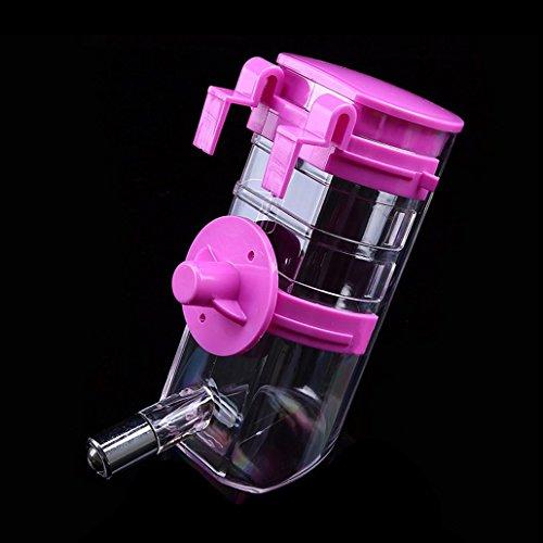 Luniquz 350ML Haustier Trinkflasche Kleintiertränke Nagertrinkflasche mit Halter Befestigung am Gitter für kleintiere/kleinhunde/kleinkatzen (Blau) - 3