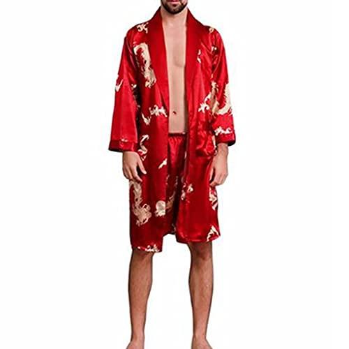 DEWUFAFA Albornoz Hombres Damas Vestido Nocturna Homewear Pijama Nightwear (Color : Red, Size : XX-Large)