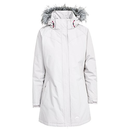 Trespass San Fran, Pebble, XXS, Wasserdichte Jacke mit Abnehmbarer Kapuze für Damen, XX-Small / 2XS / 2X-Small, Beige