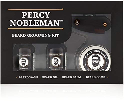 Kit entretien de barbe par Percy Nobleman. Coffret-cadeau pour homme contenant une huile pour barbe, un shampooing pour barbe, une baume à barbe et un peigne