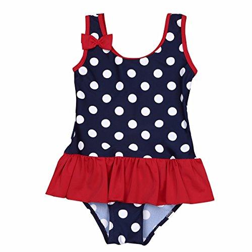 FEESHOW Kinder Mädchen Einteiler Badeanzug ärmellos Polka Dots mit Schleife Strand Swimmsuit Schwimmenanzug Bademode Gr.62-98 Marineblau 98/2-3 Jahre