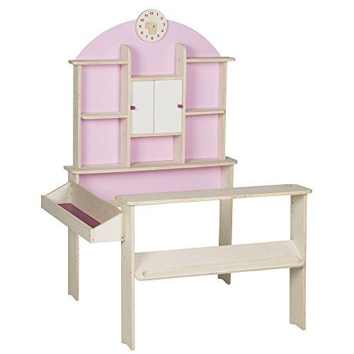 roba 480022 Kaufladen, Kinder Kaufmannsladen, Holz, Verkaufsstand mit Seitentheke, Uhr, Rückwand und weißen Schiebetüren, Natur/Rosa