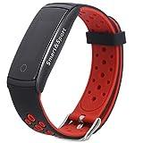 SALUTUYA Pulsera de Ejercicio Inteligente Equipada con Sensor de Movimiento de 3 Ejes para Realizar un Seguimiento de Las Actividades diarias(Black Red)