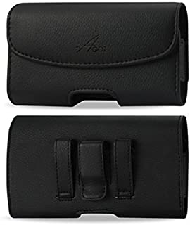 for Doro 824 SmartEasy, Premium Leather AGOZ Pouch Case Holster with Belt Clip & Belt Loops