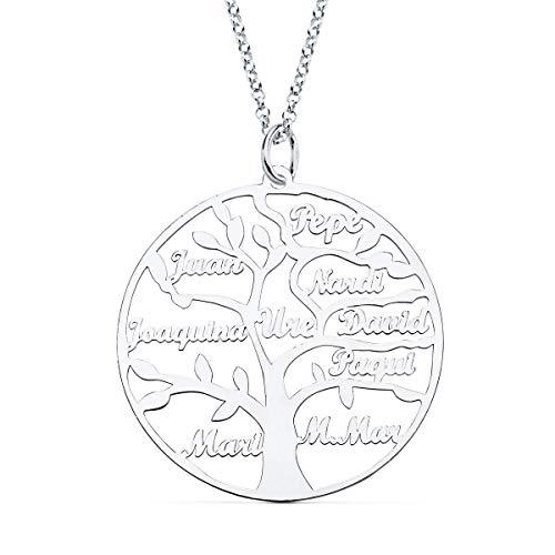 doble aro - Collar Arbol de la Vida con Nombres Personalizado en Plata de Ley - Entre 1 y 9 nombres - Largo 45cm + 5cm de alargador