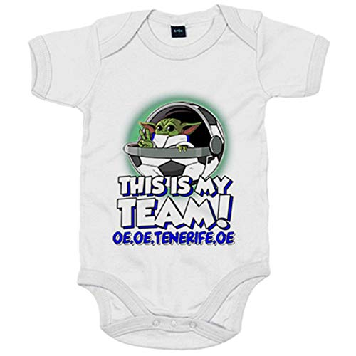 Body bebé parodia baby Yoda mi equipo de fútbol Tenerife - Blanco, 12-18 meses