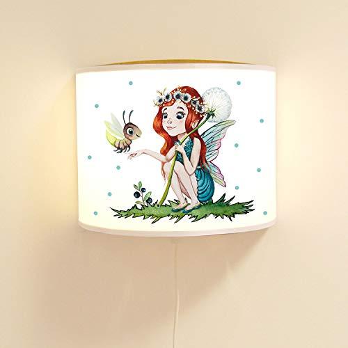 ilka parey wandtattoo-welt Kinderlampe Wandlampe Elfe Fee & Glühwürmchen Elfenlampe Lampe Motivlampe Mädchen ls98 - ausgewählte Farbe: *blau*
