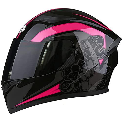 CHICTI Casco De Motocicleta Modular Tipo De Flip-Tipo Doble Sun Visor Completo ECE Homologado Moto para Mujer Hombre Adultos Hombres Mujeres Scooter (Color : F, Size : S)