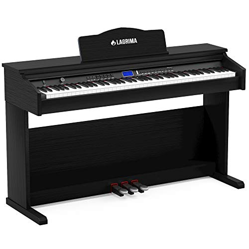 LAGRIMA Digital Piano, 88 Keys Electric Keyboard Piano for Beginner(Kids/Adults) w/Music Stand+Power Adapter+3 Metal Pedals+Instruction Book, 2 Headphone Jack/Midi/USB Audio Output
