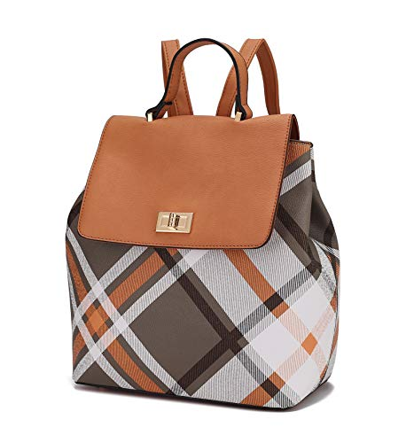 Mia K Collection Backpack Purse for Women & Teen Girls – PU Leather Top-Handle Ladies Multi Pocket Fashion Travel Brown Size: L