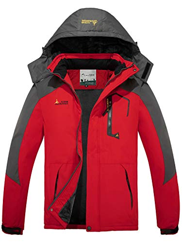 FARVALUE Men's Waterproof Ski Jacket Mountain Winter Warm Snow Coat Windbreaker Snowboarding Jacket with Hood Red Large