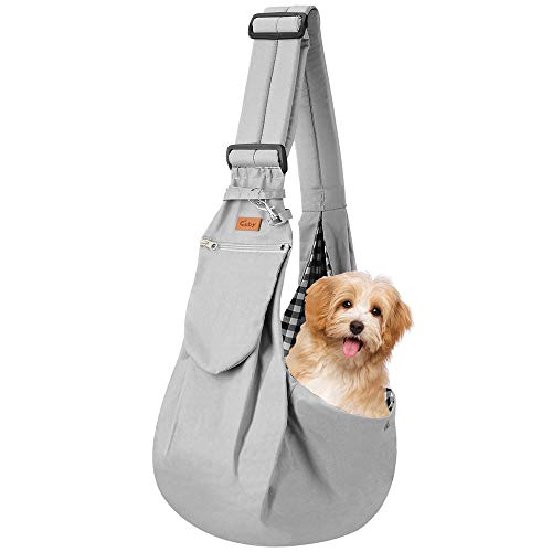 Cuby Dog and Cat Sling Carrier – Hands Free Reversible Pet Papoose Bag - Soft Pouch and Tote Design – Adjustable – Suitable for Puppy, Small Dogs, and Cats for Outdoor Travel (Noble Grey)