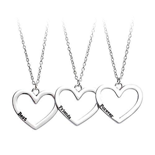 JOOFFF Freundschaftskette Einzigartige Kreative 3-teilige Halskette Best Friends Forever Halskette Hohl Herz Halskette Schwester Halskette