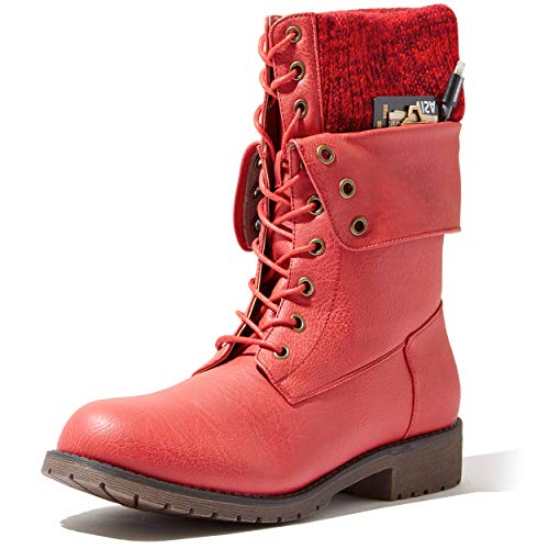 DailyShoes Natalie 99 Pocket Ankle Boot with Sweater Top Combat Boots Mid Calf Low Heel Lace Up Zip Cuff Knitted Backpacking Fashion Winter Flat Heels Shoes for Women Natalie-99 Red Pu 6