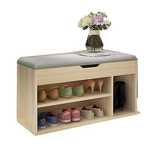 KEKEYANG Zapato Banco rack con cojín acolchado del asiento Estante de almacenamiento Banco 3Tier zapato del organizador for Pasillo Puerta de entrada con patas zapato Bastidores (color, tamaño: 80x30x