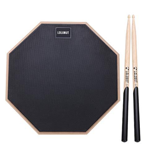 LOLUNUT Dumb Drum Practice Pad, 2-seitig leises Übungspad, weicher Gummi, Holzsockel, mit Massivholz-Drumsticks und Übungspad Aufbewahrungstasche