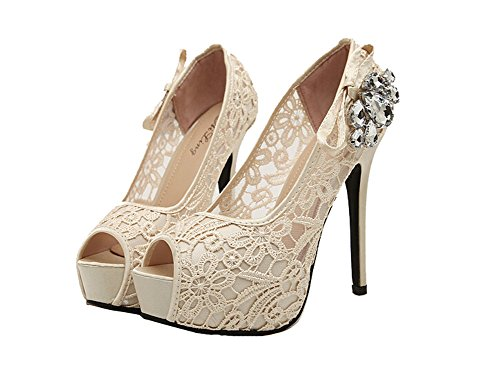 Sommer 2015 neue Marke Art Dame-reizvolle Rhinestone Spitze Peep Toe Hochzeit Schuhe High Heels Plateau-Pumps für Frauen aprikose Größe 35-40 (39)