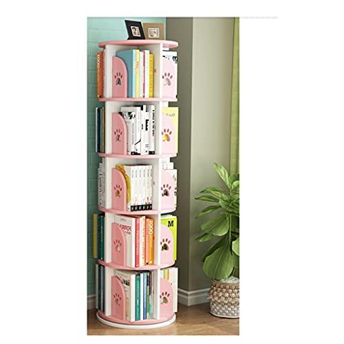 jiji Librería Biblioteca de estantería giratoria Espacio ahorrando niños de Piso a Techo Dibujo de Dibujo Rack Simple Hogar Estudiante Simple Estudio Librero (Color : Pink)