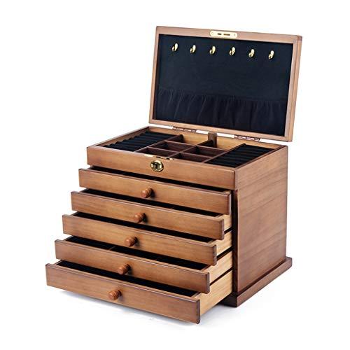 Jewelry Box Joyero Tipo Seis Cajones Gran Capacidad Multifuncional con Cerradura Estuche De Almacenamiento De Terciopelo De Pasta Completa Hecho A Mano (Color : BeigeB, Size : 31.5×24.5×20.5cm)
