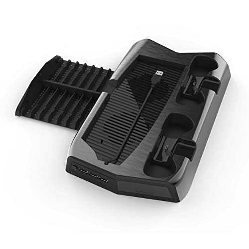 xiaowang Vertikaler Ständer mit Lüfter für PS5, PlayStation 5 Ladestation mit Dual-Controller-Ladeanschlüssen, 3 Hub-Ports, 14 einziehbare Spielaufbewahrung