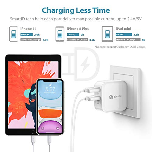 iClever USB Wall Charger, BoostCube 24W Dual Port Charger with SmartID Technology and Foldable Plug, for iPhone Xs/XS Max/XR/X/8 Plus/8/7 Plus/7/6S/6 Plus, iPad Pro Air/Mini, Samsung S4/S5 and More