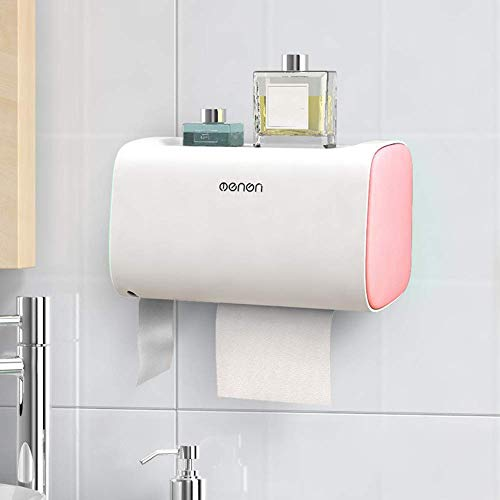 Caja de pañuelos multifuncional Almacenamiento de papel para baño Estante impermeable sin bolsa con puertas dobles Rosa