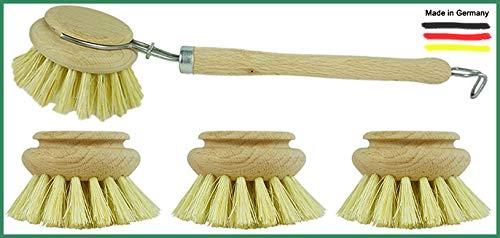 Novaliv - Juego de 4 cepillos para fregadero, 3 cabezales de repuesto,...