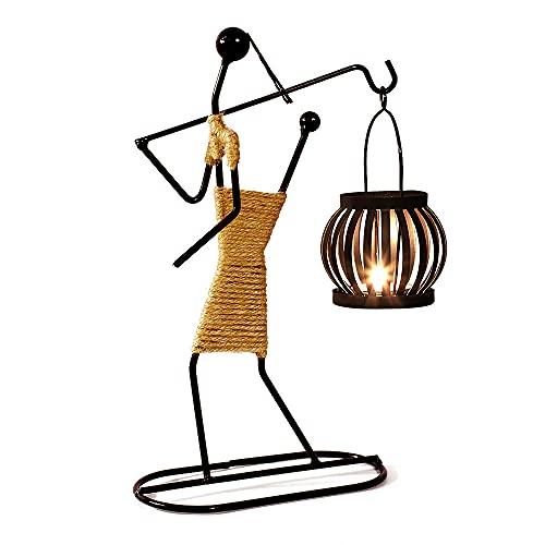 LELE LIFE - Portacandele in ferro, stile retrò, colore: nero, realizzato a mano, in corda di canapa per centrotavola, matrimoni, cene, feste, stile A