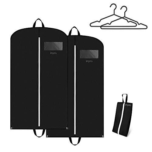 Legona® 2x Stabiler Kleidersack inkl. Nylon Schuhtasche / Langlebige Anzugtasche für Kleider, Anzug & Jacken / Atmungsaktiver Business Reise Anzugsack [110 x 60 cm]
