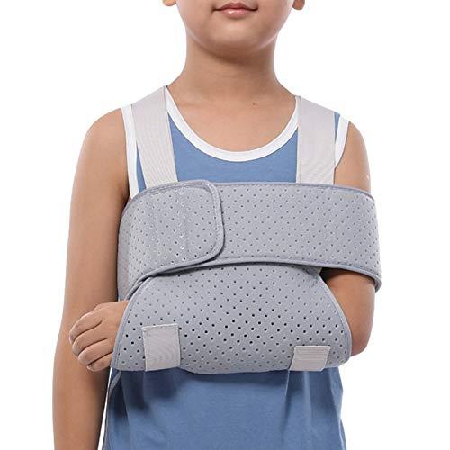 Kinderarmschlinge, atmungsaktives Material, ultimativer Komfort, voll einstellbare Rotatorenmanschette, Ellbogenstütze für gebrochenen Schulterbruch und Stauraum zur Stabilisierung des Arms, Wiederh