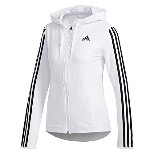 adidas Womens 3s KNT Fz Hoody Hooded Sweatshirt, White, L