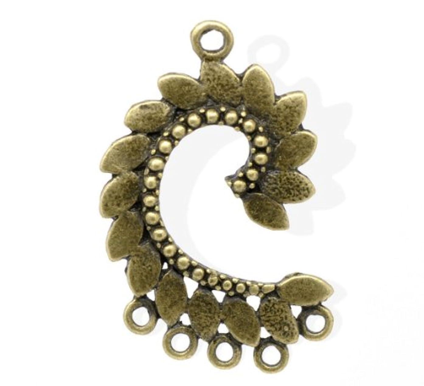PEPPERLONELY 2pc Connectors Findings Antique Bronze 40mm x 25mm Leaf Chandelier Earring C.